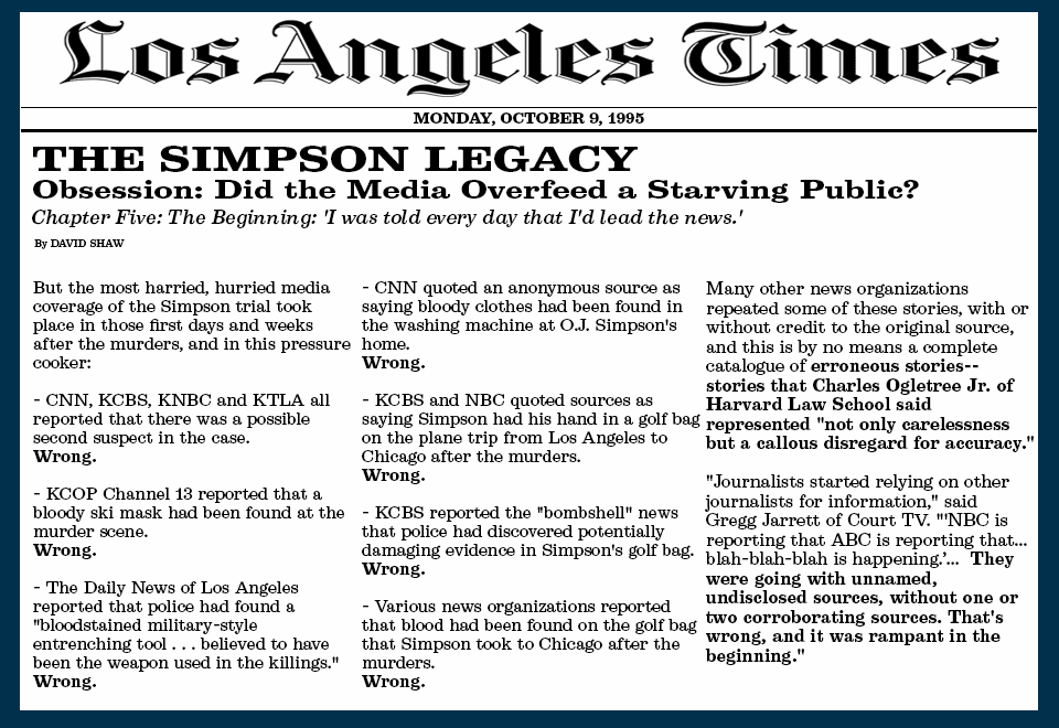 1995 Los Angeles Times article detailing numerous false media reports about O.J.