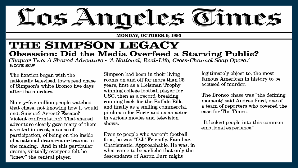 1995 Los Angeles Times article describing Americans connection to O.J.