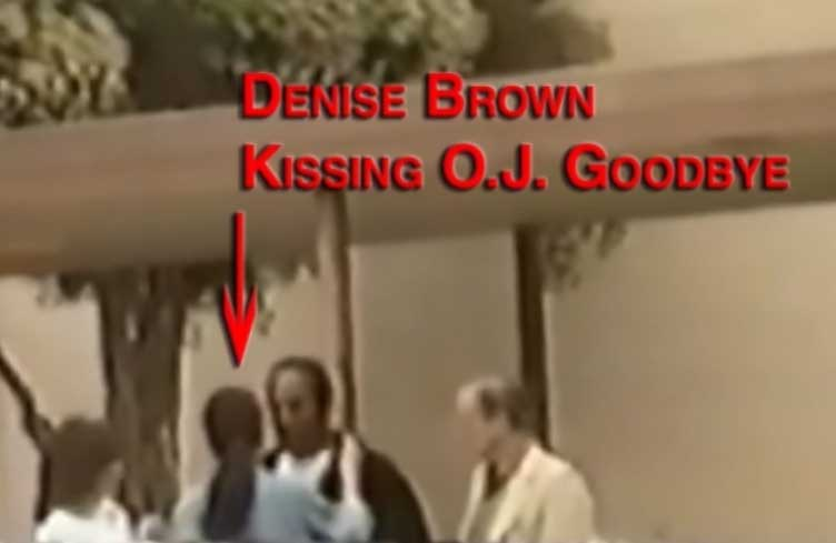 Denise Brown and O.J. Simpson kiss goodbye on June 12, 1994 OJSimpson.co