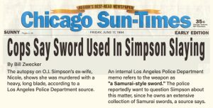 Bill Zwecker Sun Times OJ Used Samurai Sword