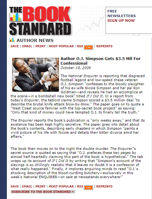 The Book Standard October 18 2006 FOX OJ Simpson If I Did It Special OJ Simpson Confessional Book OJSimpson.co