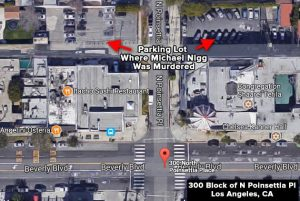 Map of 300 block of N Poinsettia Place where Michael Nigg was killed