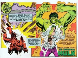 Bruce Banner Transforming Into the Incredible Hulk