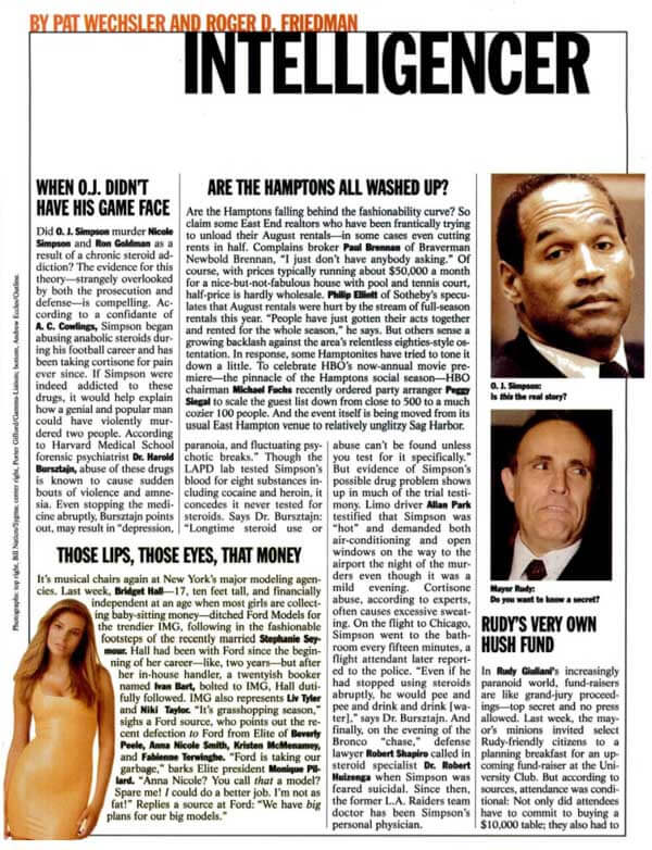 Roger Friedman OJ Simpson steroids July 1995 OJSimpson.co