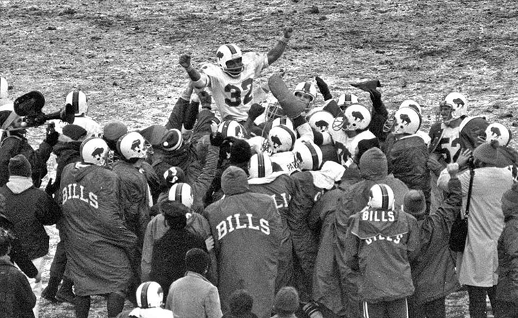 December 16, 1973. Shea Stadium. Queens, NY. Buffalo Bills teammates carry O.J. Simpson Off Field After Breaking NFL Rushing Record. OJSimpson.co